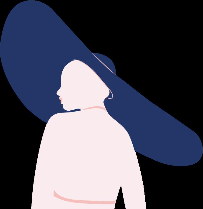 Frau mit blauen hut
